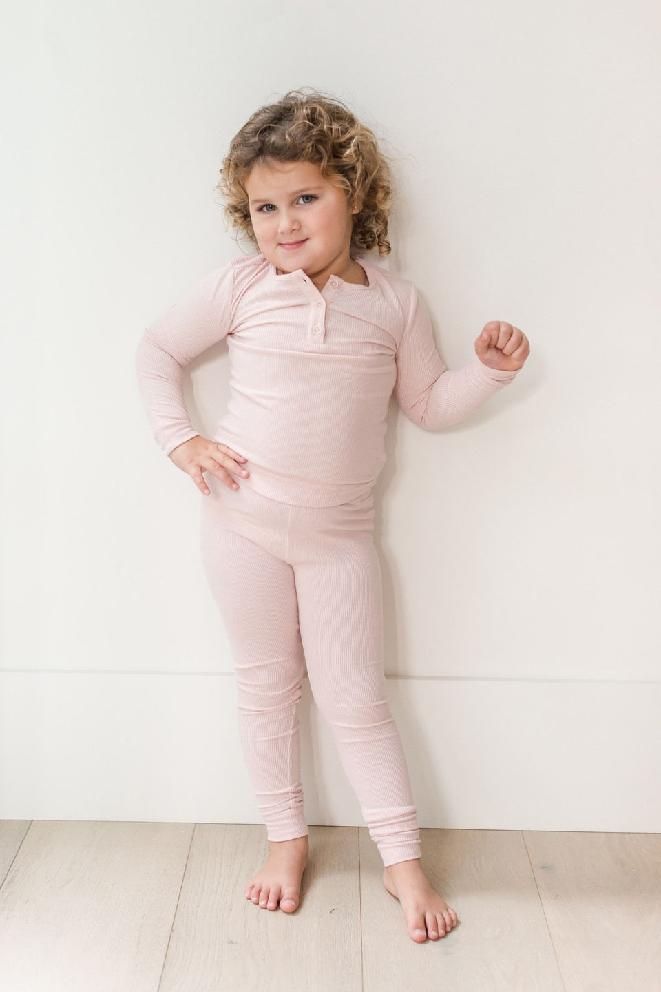 Girls Sundays Ribbed Henley Sleep Set-Blush