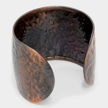 Load image into Gallery viewer, California State map Hammered Wide Metal Cuff Bracelet