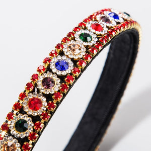 Skinny Rhinestone Head Band Red and Multi stones