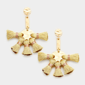 Gold Bold and Fabulous Tassle Earring