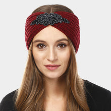Load image into Gallery viewer, Bead Flower Knit Earmuff Headband - Burgundy