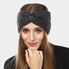 Load image into Gallery viewer, Bead Flower Knit Earmuff Headband - Gray
