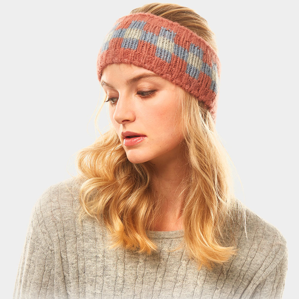 Multi Colored tile Pattern Earmuff Headband Coral