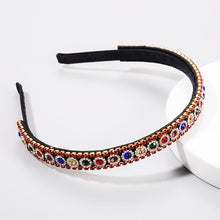 Load image into Gallery viewer, Skinny Rhinestone Head Band Red and Multi stones