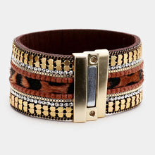 Load image into Gallery viewer, Cheetah Pattern Detail Faux Leather Magnetic Bracelet