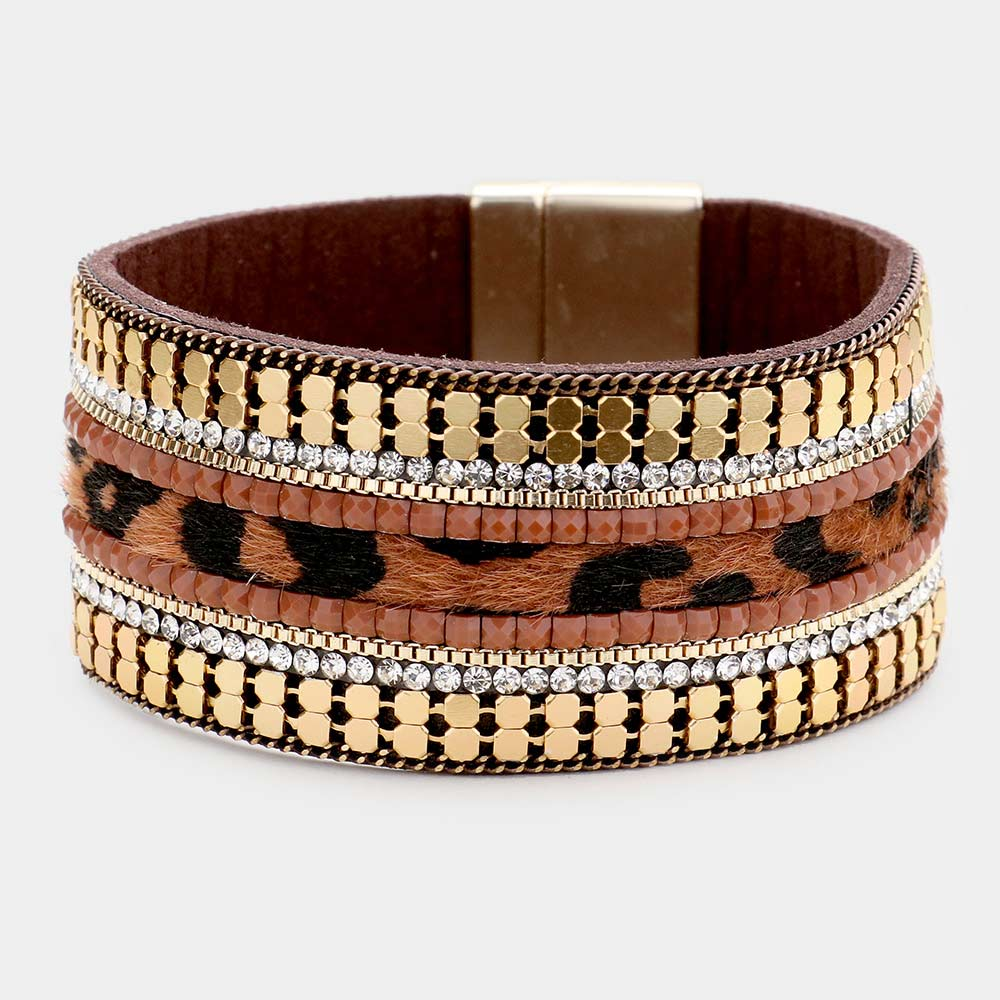 Cheetah Pattern Detail Faux Leather Magnetic Bracelet