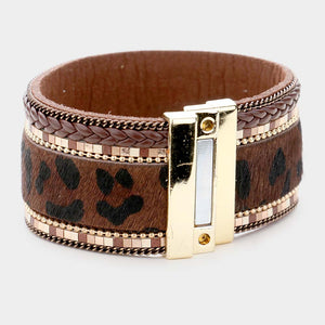Leopard Pattern Faux Leather Magnetic Bracelet