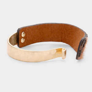 Faux Leather Metal Hook Bracelet