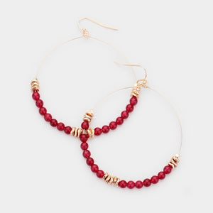 Semi Precious Stone Beaded Open Circle Earring