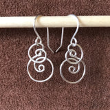 Spiral Wave Earrings, Silver