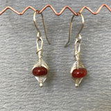 Herrringbone Weave Earrings: Orange and Red
