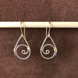 Regular Spiral Earrings, Silver with Gold Weaving