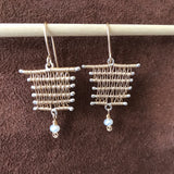 Soumak Weave Earrings, Horizontal elements with Freshwater Pearl