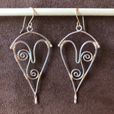 Woven Spiral Wave Heart Earrings