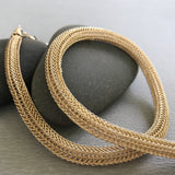 Gold Viking Knit Necklace, Densely Woven