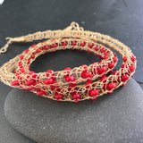 Gemstone Viking Knit Necklace: Gold, Bamboo Coral