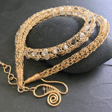 Gemstone Viking Knit Necklace: Gold, Rutile Quartz