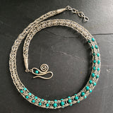 Gemstone Viking Knit Necklace: Silver, Turquoise