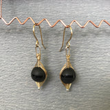 Herringbone Weave Earrings: Black and Grey