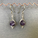 Herringbone Weave Earrings: Purple