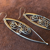 Woven Spiral Wave Ellipse Earrings