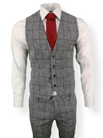 Mens 3 Piece Suit Grey Check Tweed Slim Fit Peaky Blinders Vintage Wedding