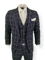 Mens 3 Piece Suit Navy Check Tweed Slim Fit Peaky Blinders Vintage Wedding