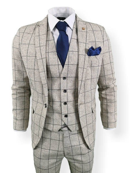 Mens 3 Piece Suit White Check Tweed Slim Fit Peaky Blinders Vintage Wedding