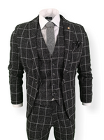 Mens 3 Piece Suit Black Check Tweed Slim Fit Peaky Blinders Vintage Wedding