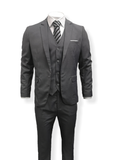 Suitbae Simple Grey 3 Piece Wool Suit Slim Fit
