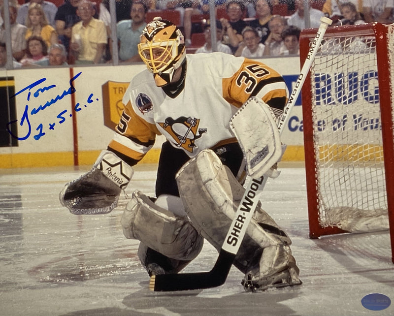 "Tom Barrasso Signed, Inscribed ""2X S.C.C"" Pittsburgh Penguins 1991 Stanely Cup Finals at the Civic Arena 8x10 Photo"