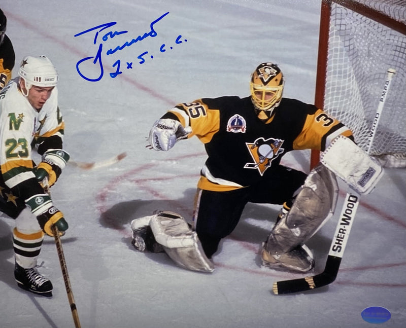 "Tom Barrasso Signed, Inscribed ""2X S.C.C"" Pittsburgh Penguins 1991 Stanley Cup Finals at the Met Center 8x10 Photo"
