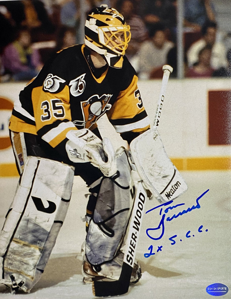 "Tom Barrasso Signed, Inscribed ""2X S.C.C"" Pittsburgh Penguins 1992 8x10 Photo"