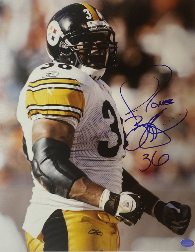 Jerome Bettis Signed Pittsburgh Steelers Fist Pump 16x20 Photo