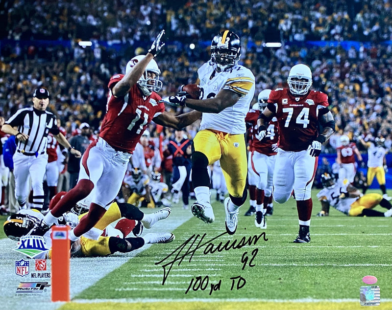 "James Harrison Signed, Inscribed ""100 yd TD"" Pittsburgh Steelers Super Bowl XLIII 16x20 Photo"