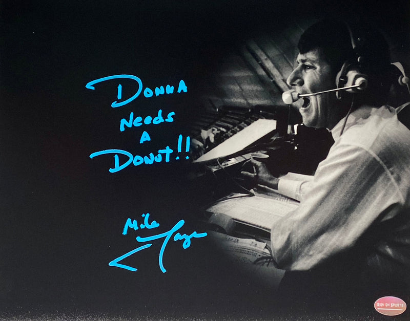 "Mike Lange Signed, Inscribed ""Donna Needs A Donut!!"" Pittsburgh Penguins 8x10 Photo"