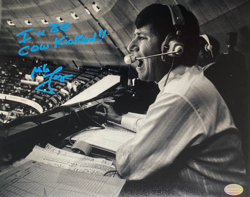 "Mike Lange Signed, Inscribed ""I'll Be Cow Kicked!!"" Pittsburgh Penguins 8x10 Photo"