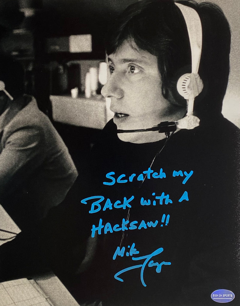 "Mike Lange Signed, Inscribed ""Scratch My Back with A Hacksaw!!"" Pittsburgh Penguins 8x10 Photo"
