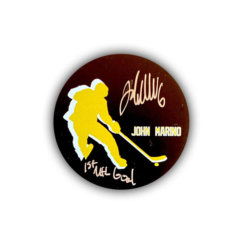 "John Marino Signed, Inscribed ""1st NHL Goal"" Commemorative First Goal Hockey Puck"