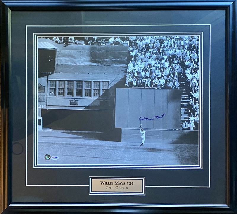 Willie Mays Signed the Catch 16x20 Photo Framed