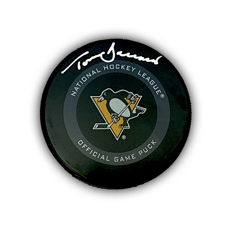 Tom Barrasso Signed Pittsburgh Penguins Game Model Hockey Puck