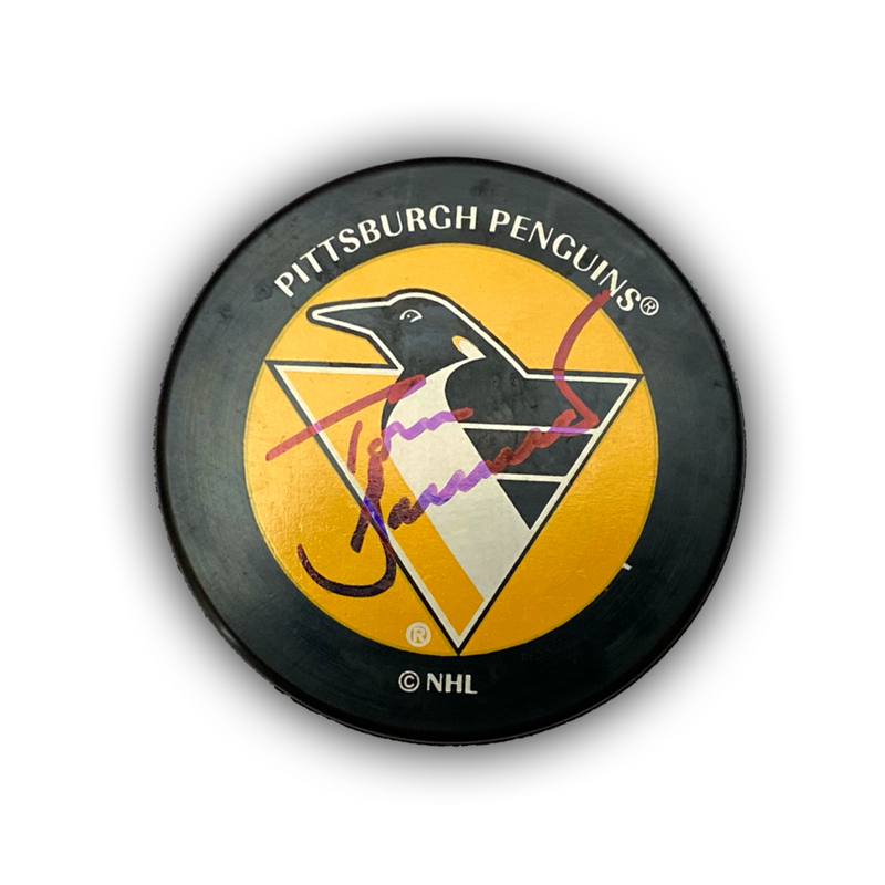 Tom Barrasso Signed Pittsburgh Penguins Pigeon Logo Hockey Puck