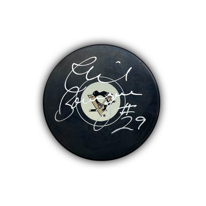 Phil Bourque Signed Pittsburgh Penguins Hockey Puck