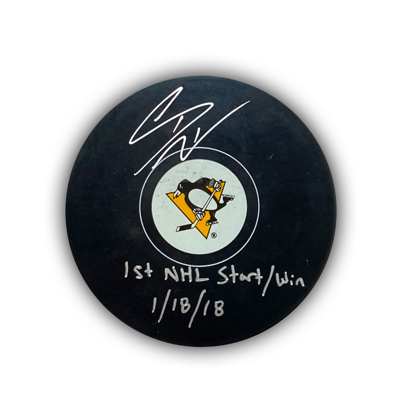"Casey DeSmith Signed, Inscribed ""1st NHL Start/Win 1/18/18"" Pittsburgh Penguins Puck"