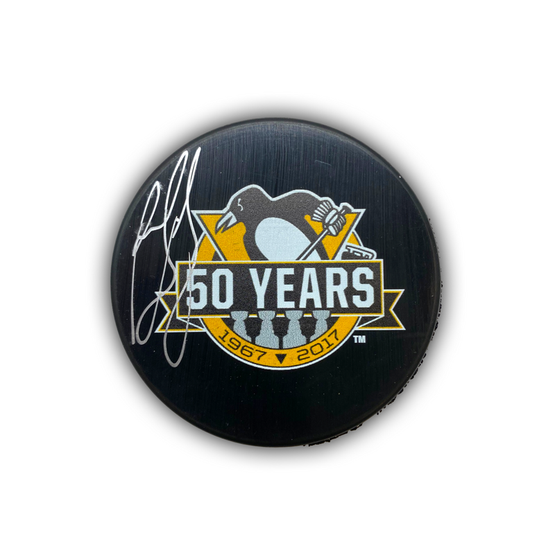Ron Francis Signed Pittsburgh Penguins Hockey 50th Anniversary Puck