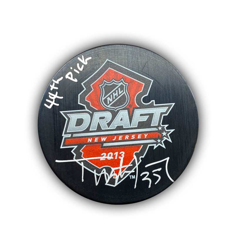 "Tristan Jarry Signed, Inscribed ""44th Pick"" 2013 NHL Draft Hockey Puck"