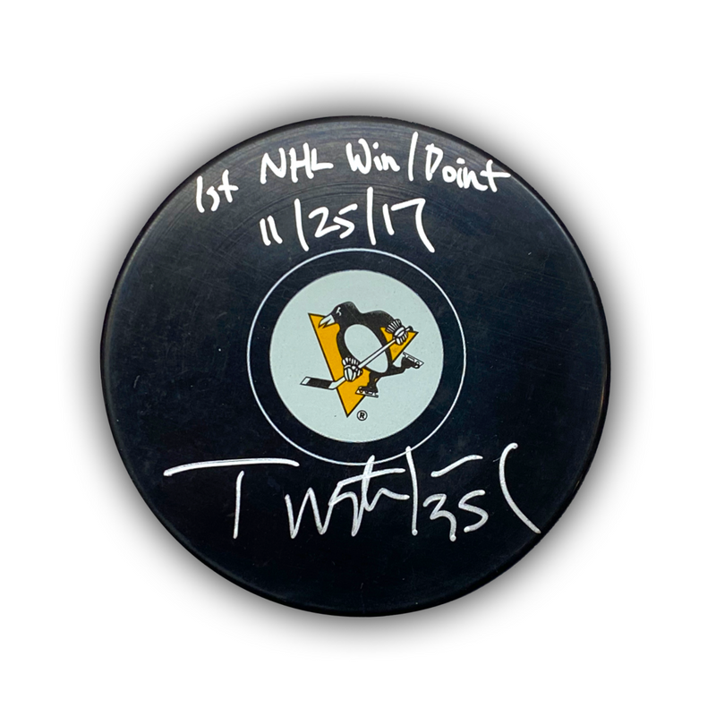 "Tristan Jarry Signed, Inscribed ""1st NHL Win/Point 11/25/17"" Pittsburgh Penguins Puck"