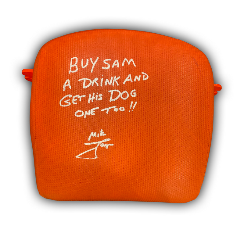 "Mike Lange Signed, Inscribed ""Buy Sam A Drink and Get His Dog One Too!!"" Mellon Arena/Civic Arena Seat Bottom"