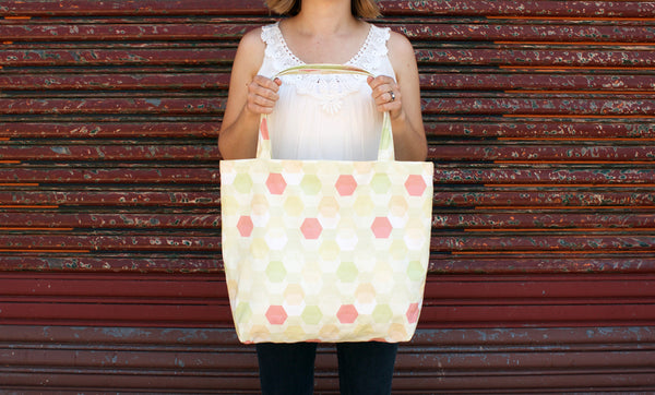 Fun Patterned Hexagon Tote Bag