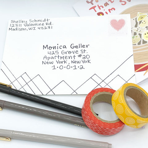 Drawn Ink Geometric Lines on White Envelope with Orange and Yellow Washi Tape and Dim Sum Dumpling Greeting Card by Sunny Day Designs - Snail Mail Fun Blog Post